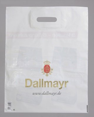 Alois Dallmayr coffee, LDPE DKT bag, 50µ, 6 color, CMYK PMS gold 872 9184C, 35.8 cm wide x 45 cm height, without bottom fold, without gusset