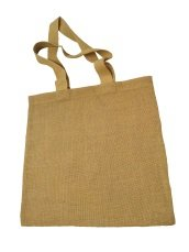Jute natural material bag, inside laminated, handle woven natural cotton