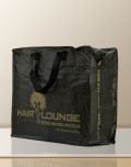 PP Woven Bag black with gold imprint.