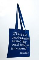 Cotton bag, reflex, blue-white screen print