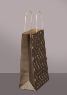 Brown kraft paper bag, 2-color printed, small series, offset printing