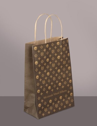 Brown kraft paper bags, small hand-folded, hand-glued
