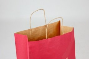 Brown kraft paper bags, twisted paper cords, Flexo print Red PMS 1945U