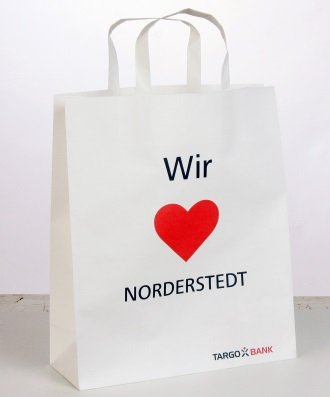 Paper bag with flat handle, Targobank Norderstedt