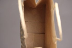View into the handmade kraft paper bag, small amount