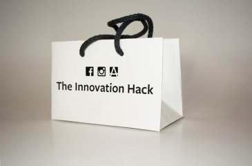 Messetaschen mit Kordeln Innovation hack Facebook Minitasche, Innovation hack Papier