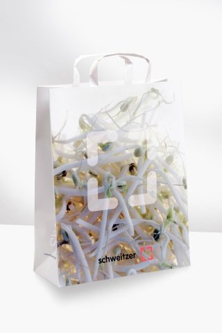Matt cellophane-coated flat-backed paper bag